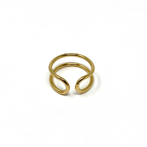 Gold Double Looped Ring- Front