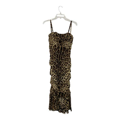 Dolce & Gabbana Ruched Leopard Print Dress-Thumbnail