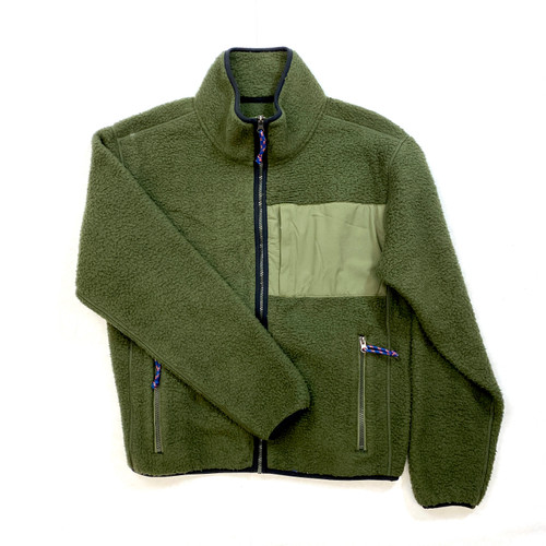 Full Zip Fleece Jacket- Green Front