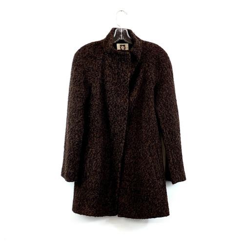Anne Klein Funnel Neck Boucle Coat- Front