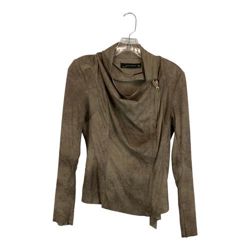 Zara Draped Faux Leather Jacket-Thumbnail