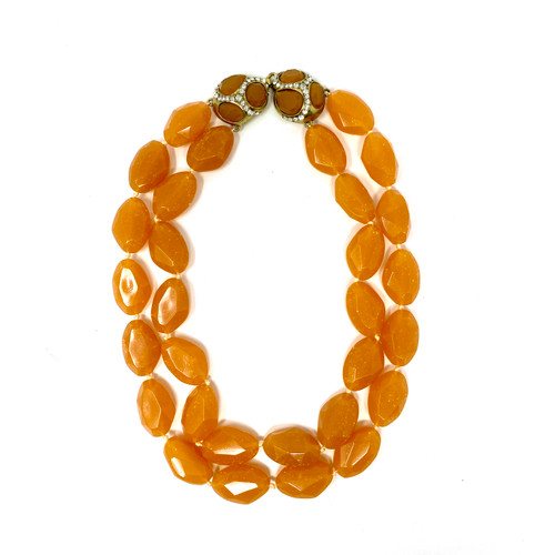 Double Strand Faceted Stone Necklace- Orange Front