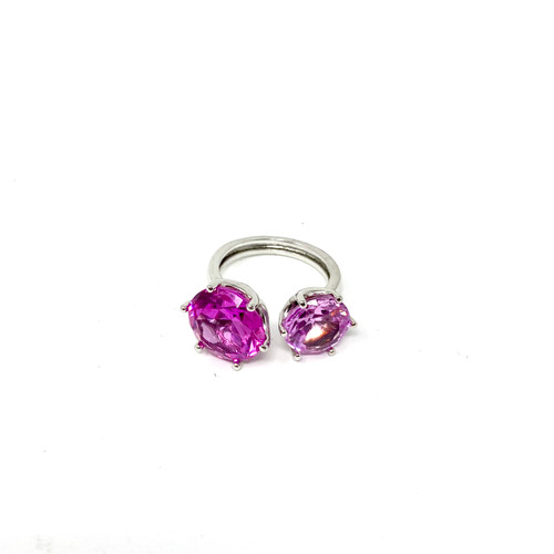 Joan Rivers Double Stone Cuff Ring- Pink Front