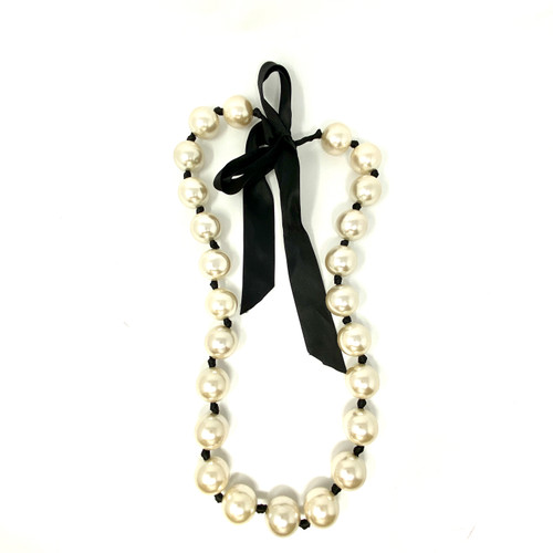 Joan Rivers Jumbo Pearl Ribbon Necklace- Front