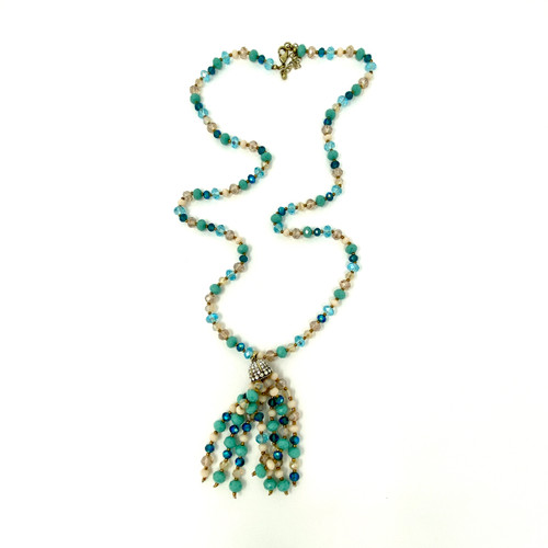 Joan Rivers Beaded Strand and Rhinestone Tassel Necklace- Blue Front