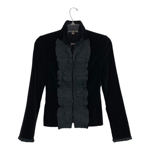 Ruffled Lapel Velvet Jacket-Front