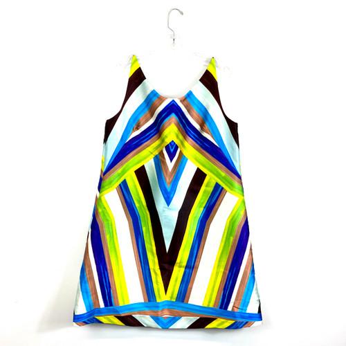 Cesar Galindo Striped Shift Dress- Front