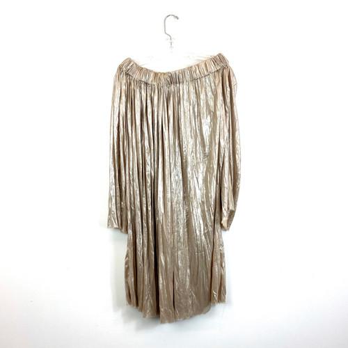 Cesar Galindo Gold Off-the-Shoulder Dress- Front