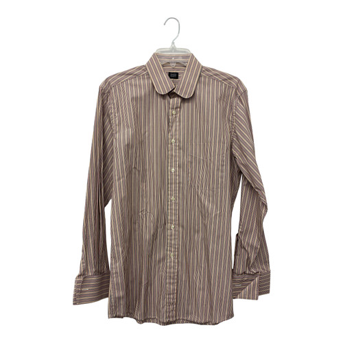 David Hart Striped Round Collar Button Down- Front