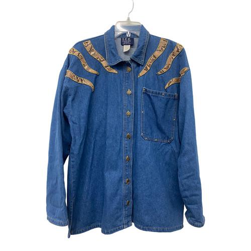 I.C.E. Embellished Denim Overshirt- Front
