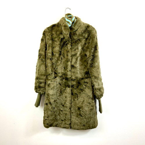 Furrier Varsity Collar Faux Fur Coat- Green