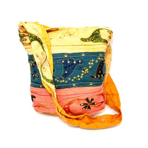 Embellished Fabric Crossbody Bag- Front