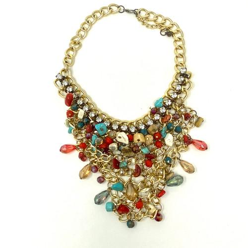Stone Embellished Triangular Collar- Thumbnail