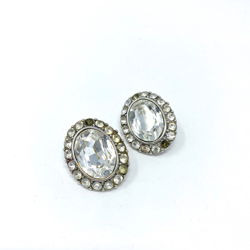 Yves Saint Laurent Rhinestone Cocktail Earrings- Thumbnail