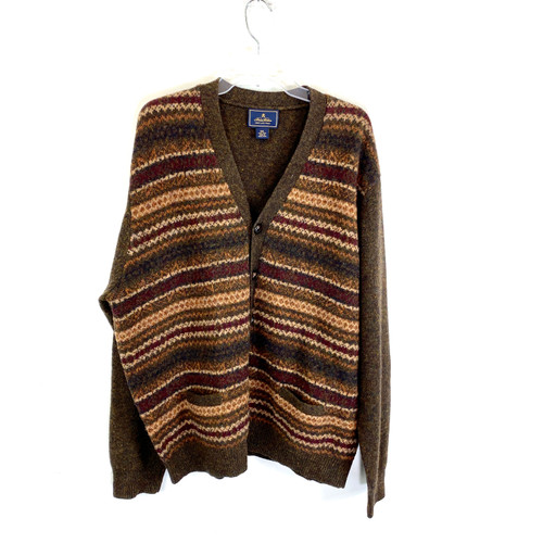 Brooks Brothers Shetland Wool Patterned Cardigan- Front