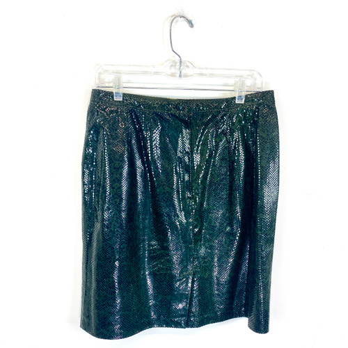 Vintage Snakeskin Texture Leather Skirt- Front