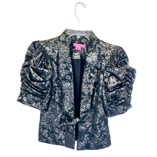 Betsey Johnson Brocade Puff Sleeve Jacket- Front