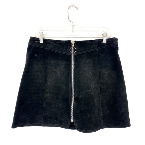 Zara Suede Zippered Mini Skirt- Front