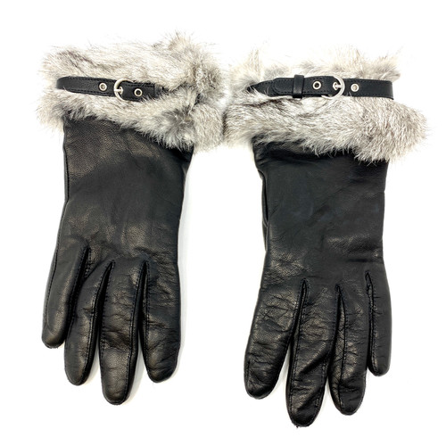Emporio Armani Fur Trimmed Gloves- Front