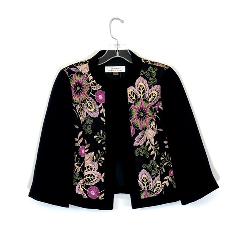 Tahari Embroidered Evening Jacket- Front