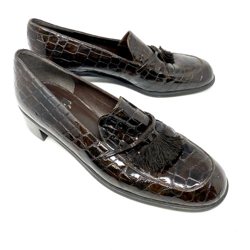 Stuart Weitzman Patent Croc Loafers- Right