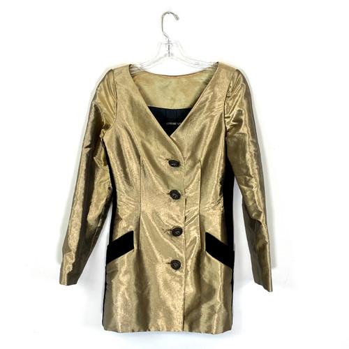 Adrienne Landau Metallic Waisted Frock Coat- Front