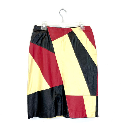 Vintage Patchwork Leather Skirt- Front