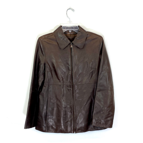 Andrew Marc Zip Front Leather Jacket- Front