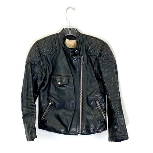 Vintage Quilted Shoulder Motorcycle Jacket- Front