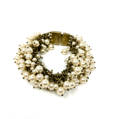 J. Crew Pearl and Chain Wide Bracelet- Front