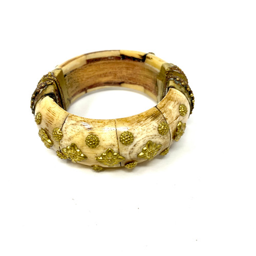 Horn Embellished Hinged Bangle- Thumbnail