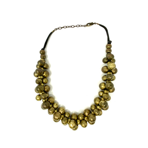 Faceted Brass Spheres Statement Necklace- Front