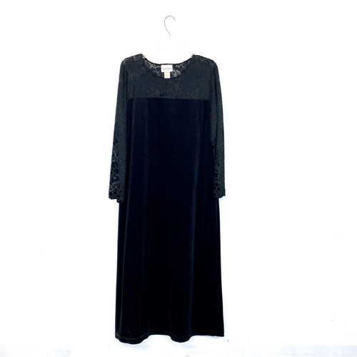 Vintage Diane von Furstenburg Velvet Burnout Maxi Dress- Front