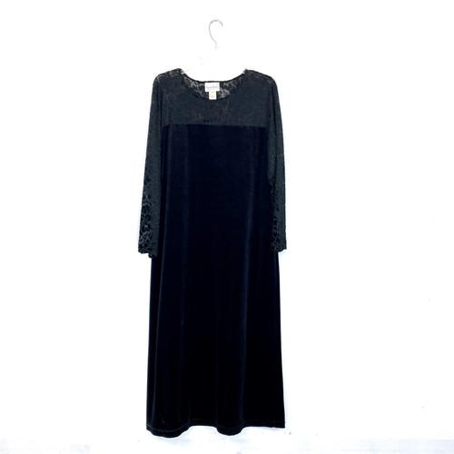 Vintage Diane von Furstenburg Velvet Burnout Maxi Dress- Front