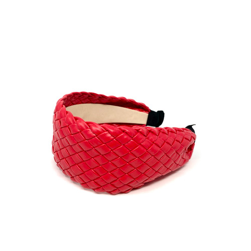 Woven Leather Headband- Red Top