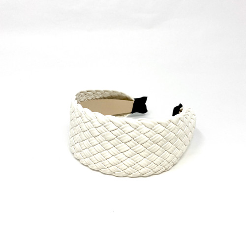 Woven Leather Headband- White Top