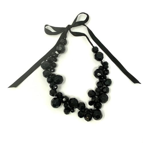 Faceted Baubles Ribbon Tie Necklace- Thumbnail