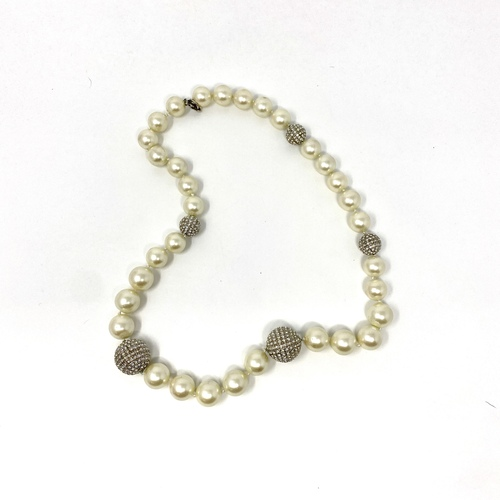 Pearl and Rhinestone Balls Statement Necklace- Thumbnail
