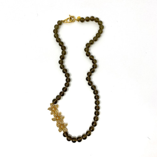J. Crew Smoky Beaded Necklace with Rhinestone Flowers- Thumbnail