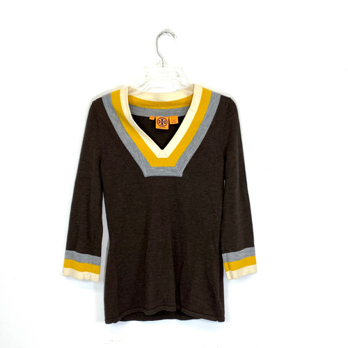 Tory Burch Striped V-Neck Sweater- Front