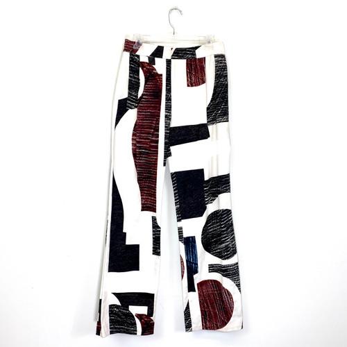 Derek Lam 10 Crosby Graphic Wide Leg Pants- Front