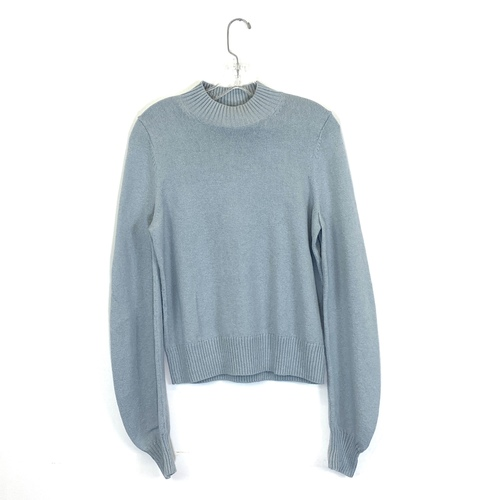 COS Mock Neck Sweater- Blue Front