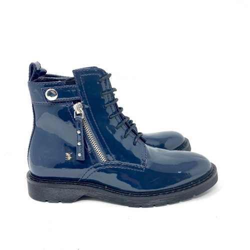 Armani Exchange Patent Leather Combat Boots- Right