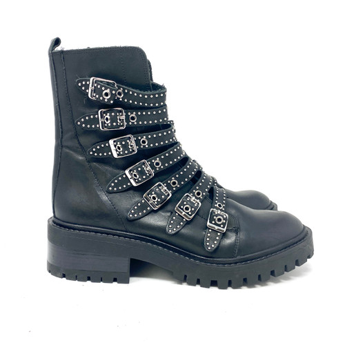 Zara Studded Buckle Lug Sole Boots- Right