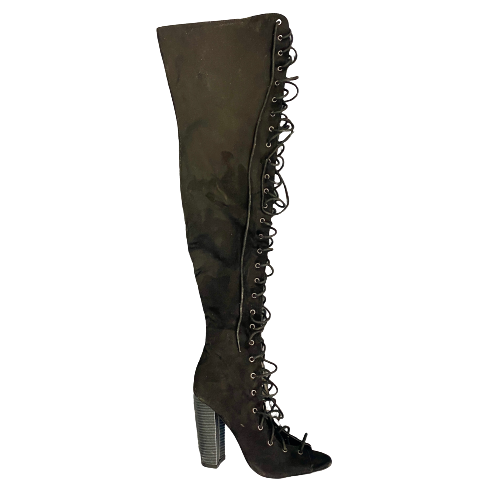 Liliana Lace Up Thigh High Boots- Right