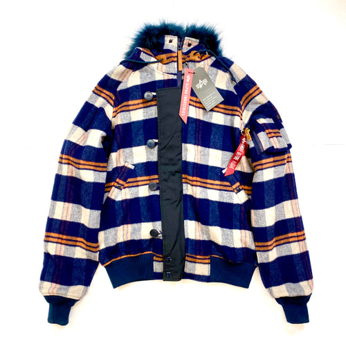 Alpha Industries Plaid Sherpa Jacket- Front