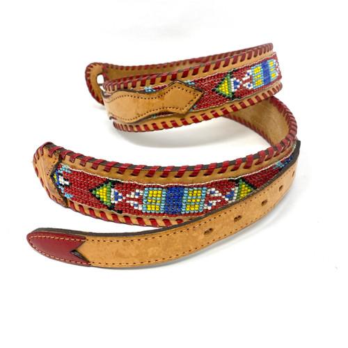 V. Enterprises NYC Beaded Leather Belt- Thumbnail