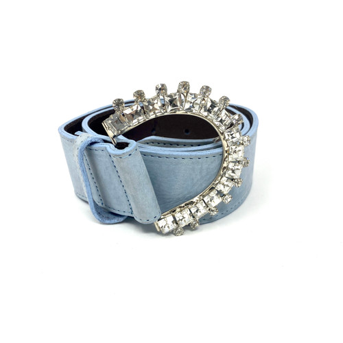 Tracy Watts Studded Buckle Leather Belt- Thumbnail
