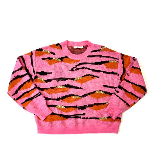 Seewe Paris Embellished Tiger Stripe Sweater- Front