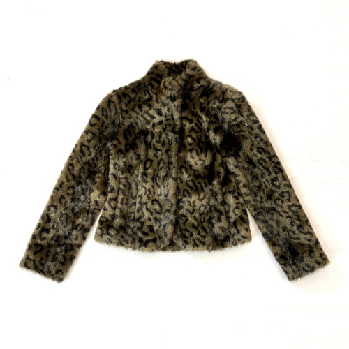 Velvet Furry Cheetah Cropped Coat- Front